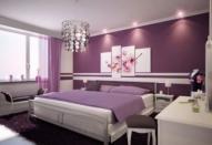 Лиловые и голубые тона восхитительной спальни